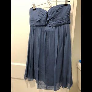 JCREW chiffon bridesmaid dress, blue. Size 6